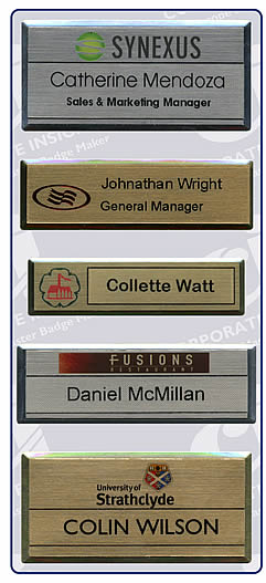 Staff Name Badges: Gold and Silver metal name tags with full colour logo