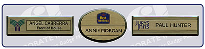 Reusable name badges available as magnetic badges, pin badges, pocket tuck badge, clip and pin badges and pocket tuck badges