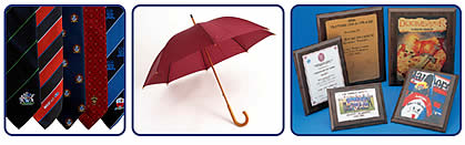Custom ties, golf umbrellas with logo, awards and plaques