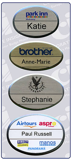 Staff Name Badges made to order with a range of badge fastenings